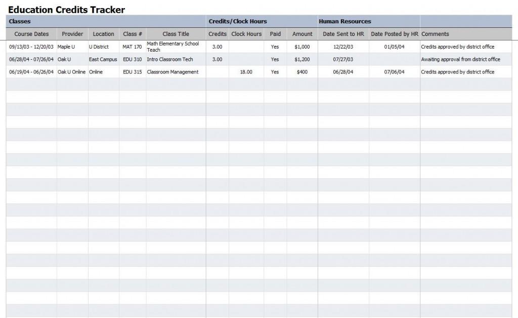 Free Education Credits Tracker