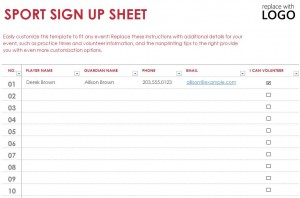 Free Sports Sign Up Sheet Template