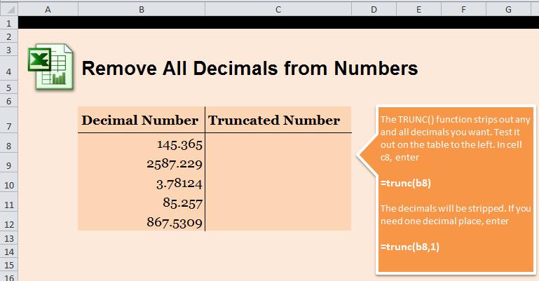 Remove All Decimals in Excel