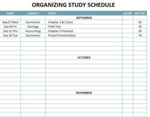 Organizing Study Schedule