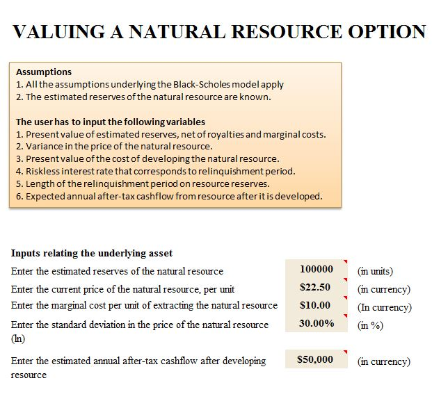 Valuing Natural Resource Template