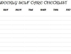 Weekly Self Care Checklist