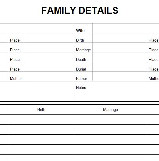 Family Medical Details Template