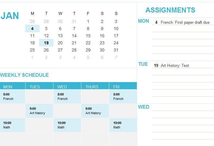 Student Calendar Template